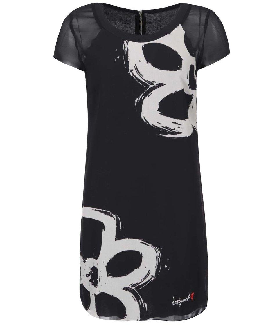 Černé šaty se vzorem Desigual Nuri