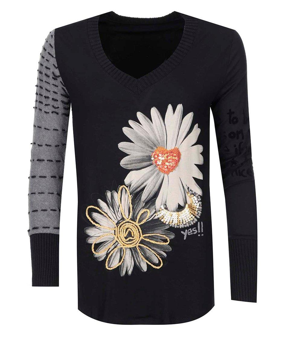 Černé tričko s velkými květy Desigual Bea
