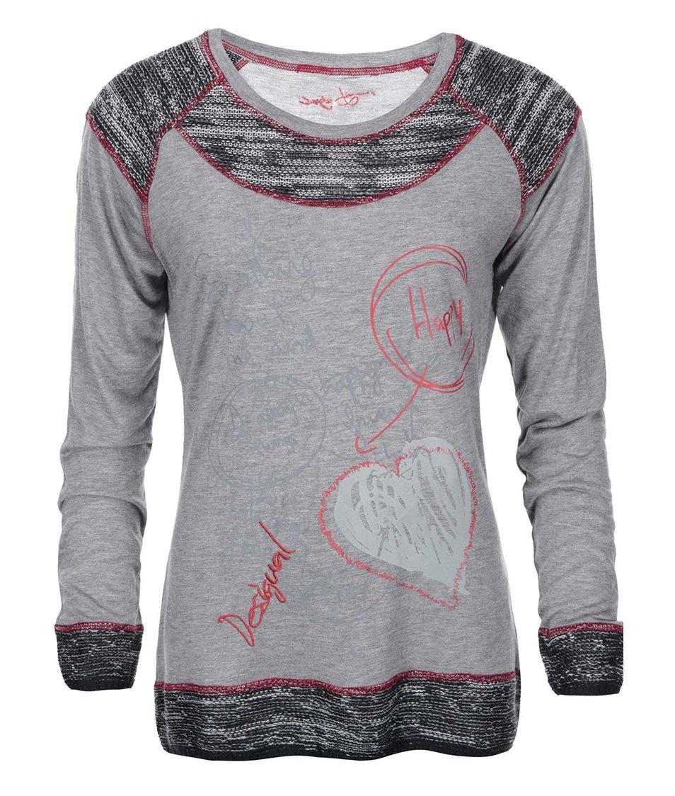 Šedé volnější tričko se vzorem a pletením Desigual Lucia