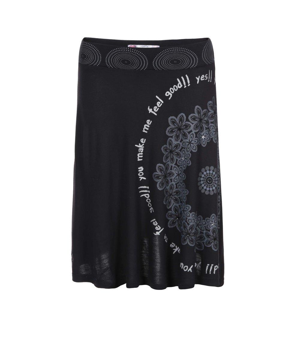 Černá sukně se vzorem Desigual Vigo