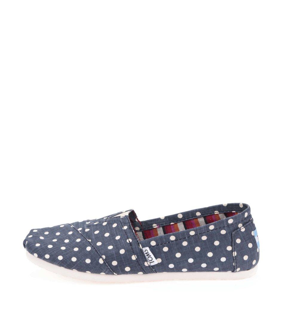 Tmavě modré dámské loafers s bílými puntíky Toms Classic