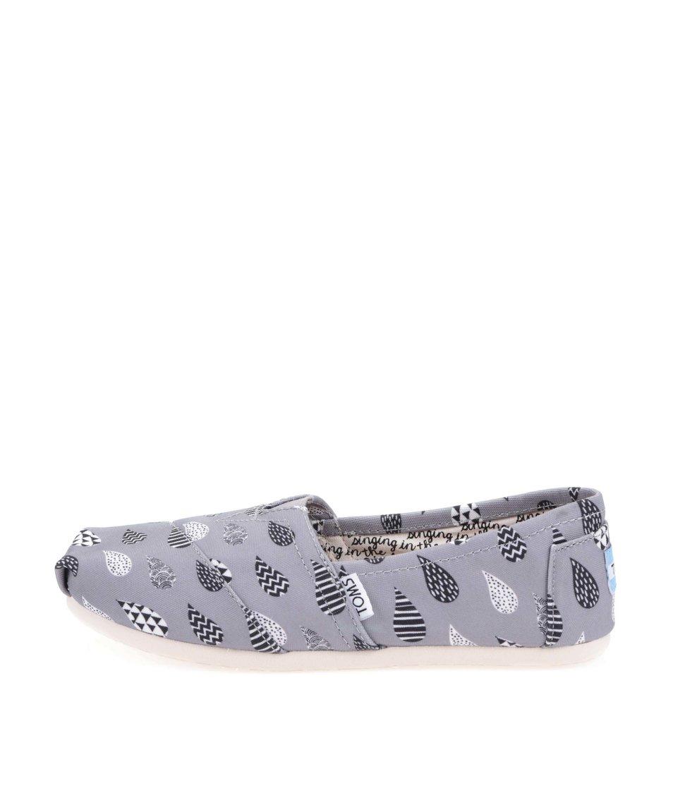 Šedé dámské loafers se vzory kapek Toms Classic