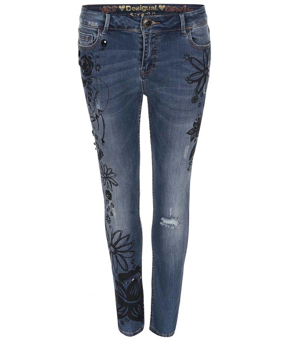 Modré vzorované džíny Desigual Big Black