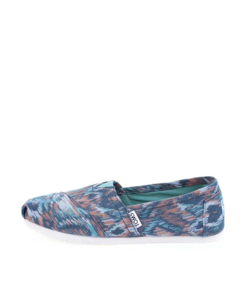 Modré dámské loafers s barevnými vzory Toms Classic