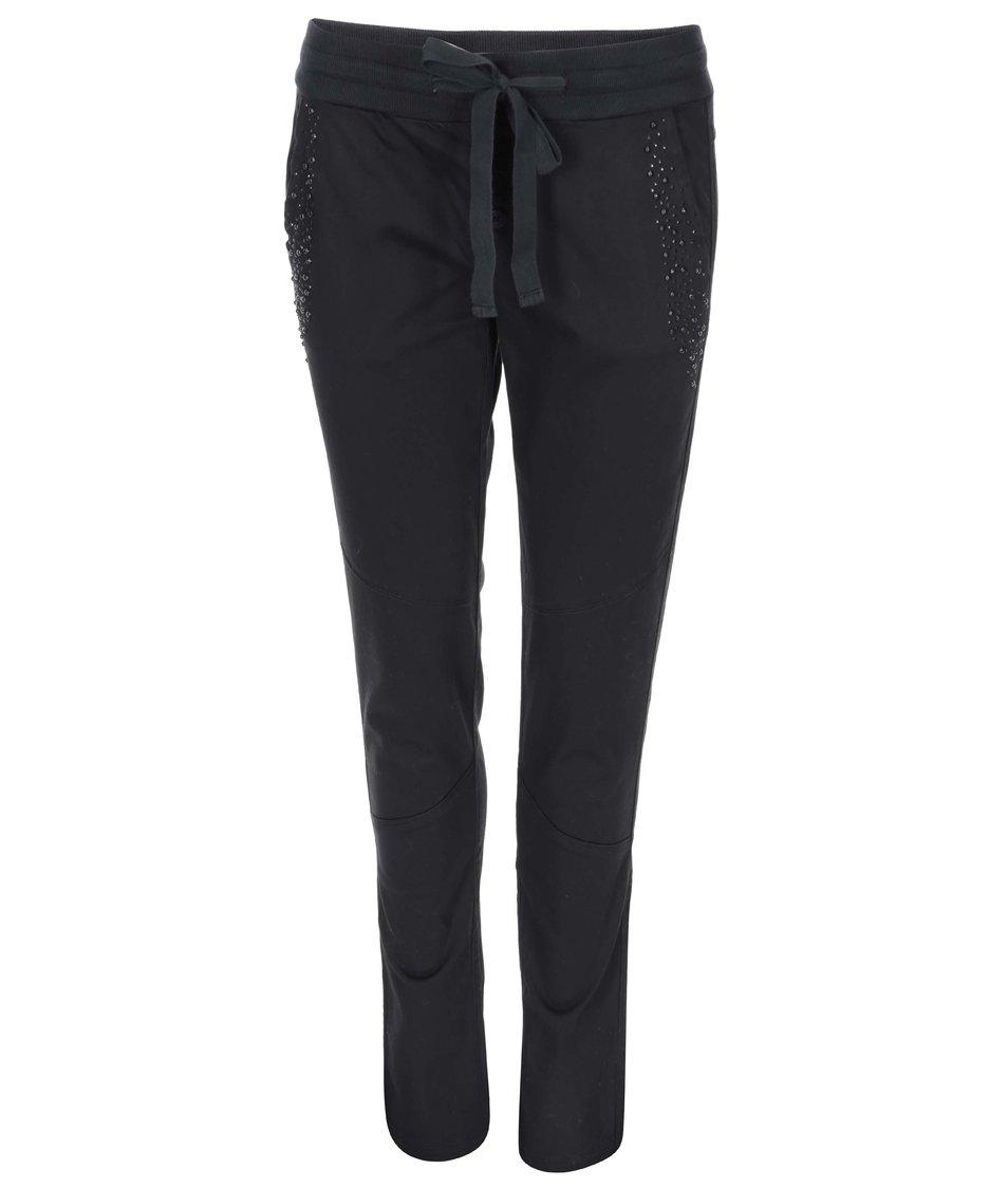 Černé kalhoty s kamínky DEHA