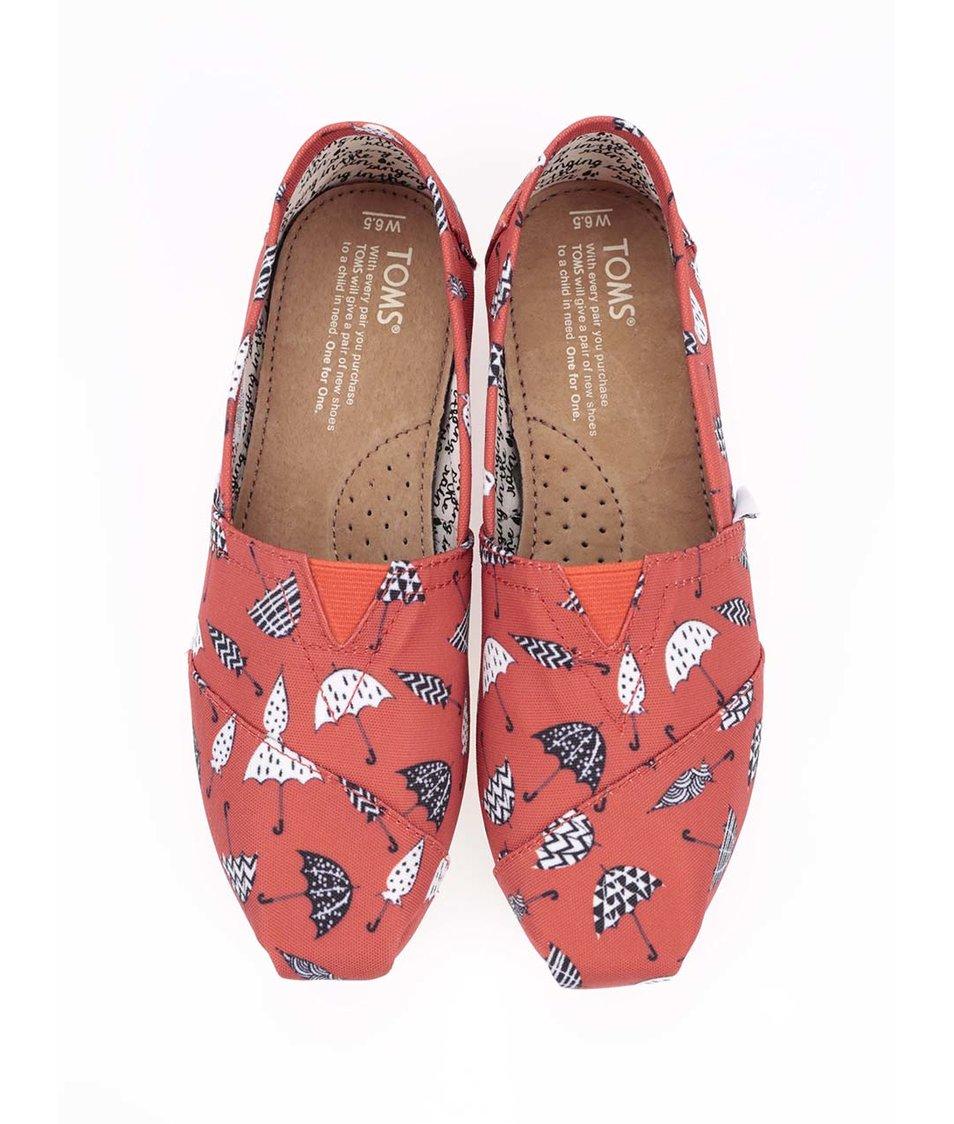 Červené dámské loafers s deštníky Toms Classic
