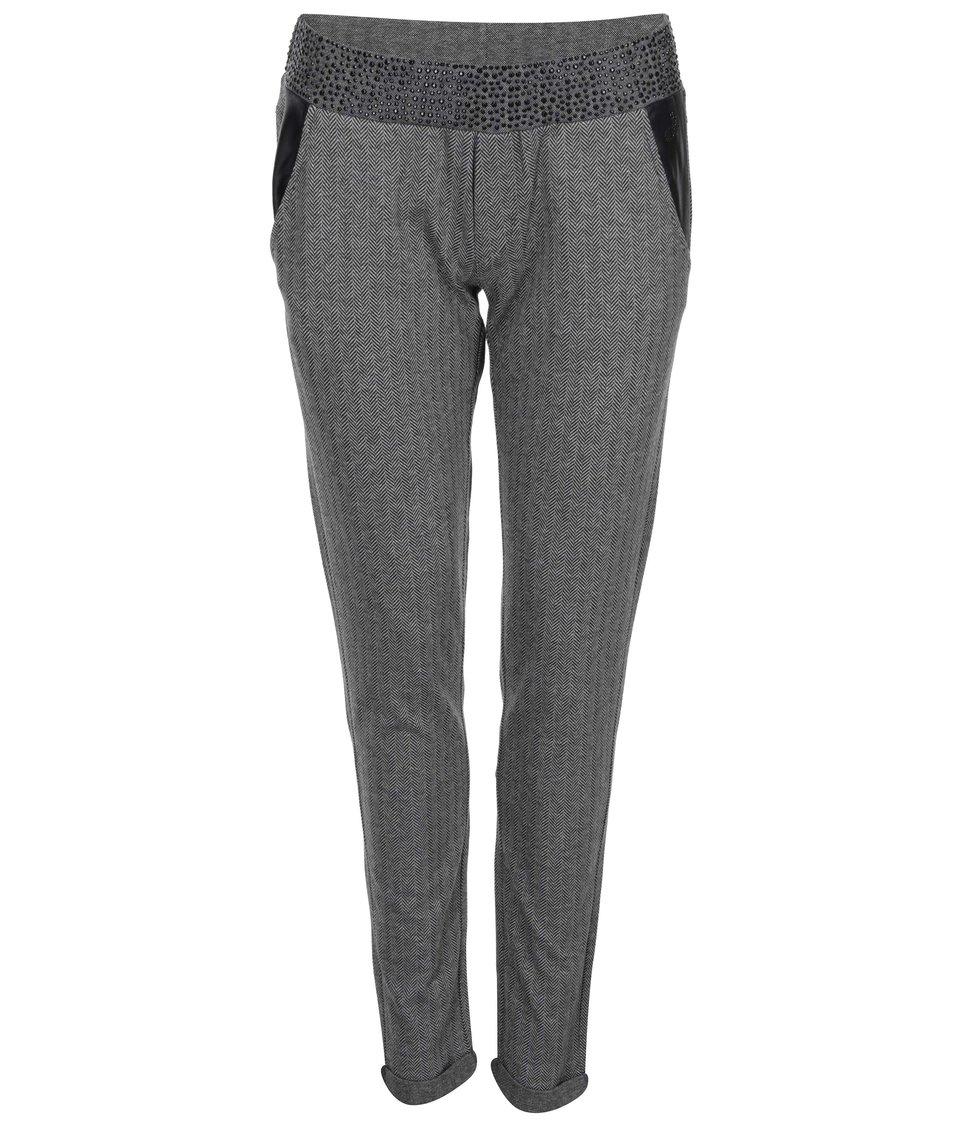 Černo-šedé vzorované kalhoty DEHA