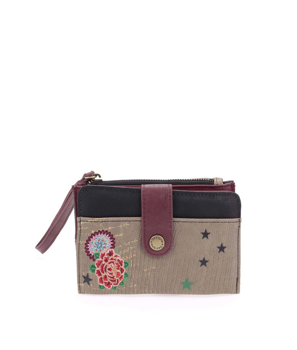 Khaki peněženka s výšivkou a poutkem Desigual Camila