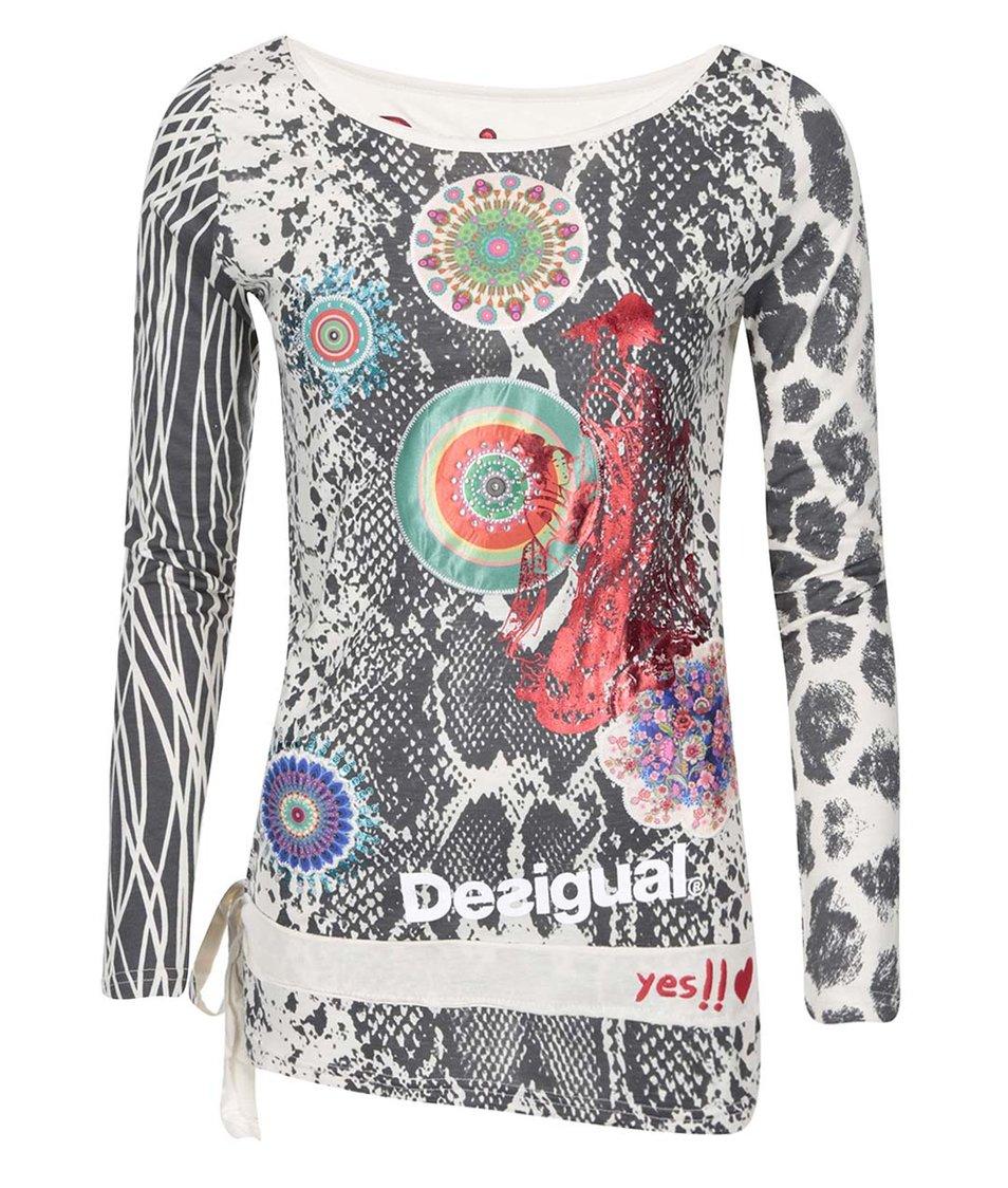Krémové tričko se vzorem Desigual Bella