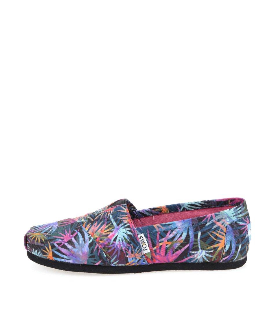 Černé dámské loafers s barevnými palmami Toms Classic