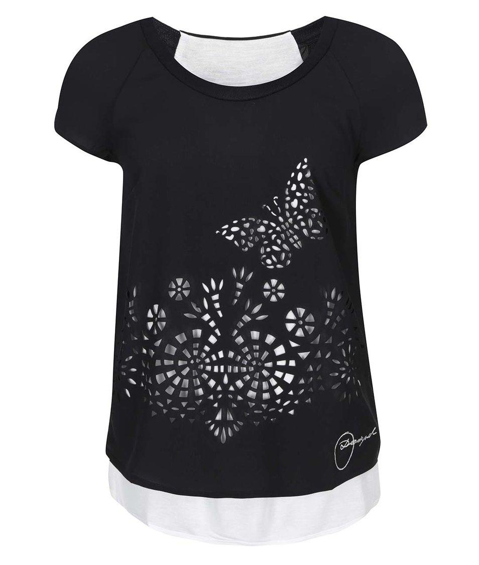 Černé tričko se vzorem Desigual Desdemona