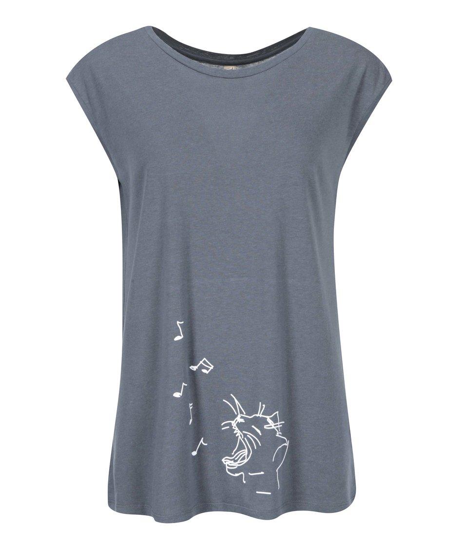 Tmavě šedé dámské tričko ZOOT Originál Mňá