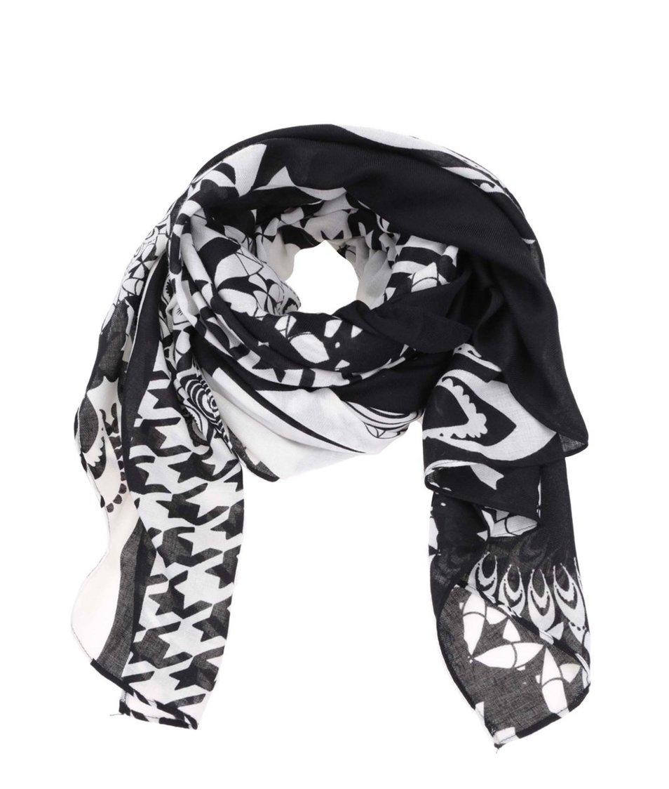 Bílo-černý šátek se vzory Desigual Twill Geofresh