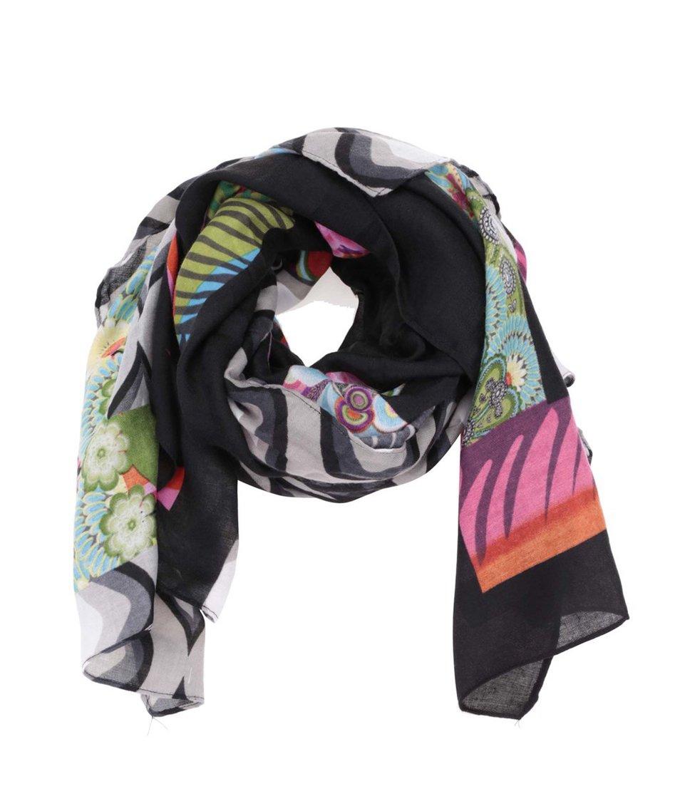 Černý šátek s barevným vzorem Desigual Rectangle