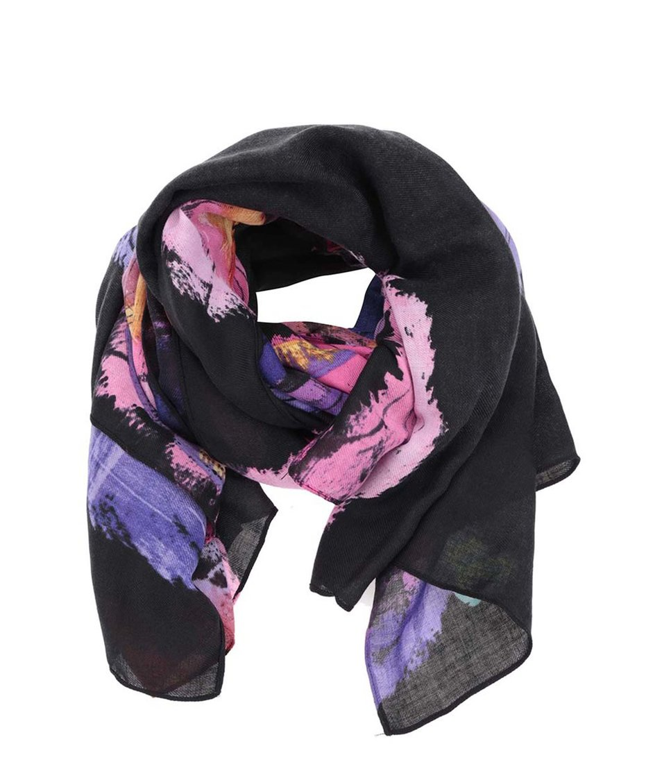 Černo-fialový šátek se vzory Desigual Romanceball