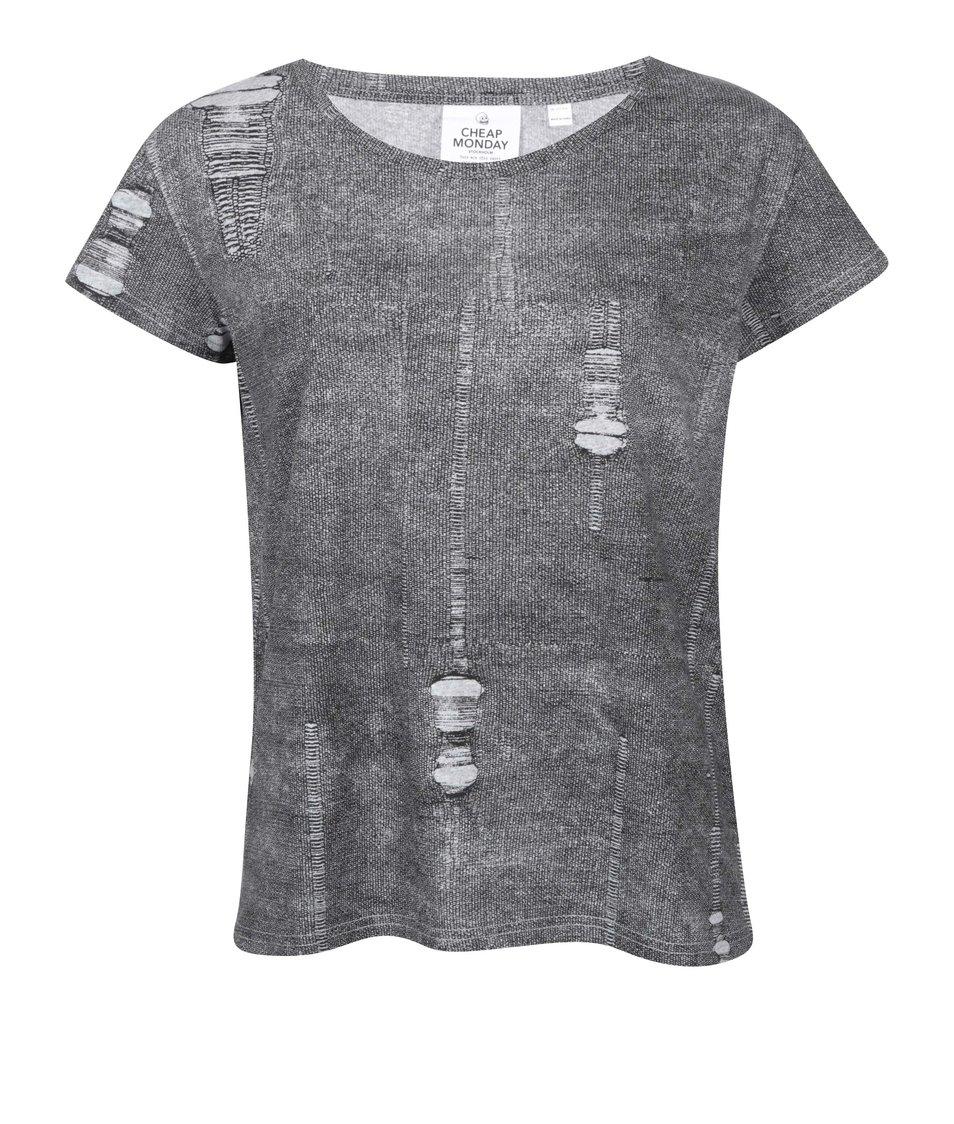 Šedé dámské tričko s potrhaným efektem Cheap Monday