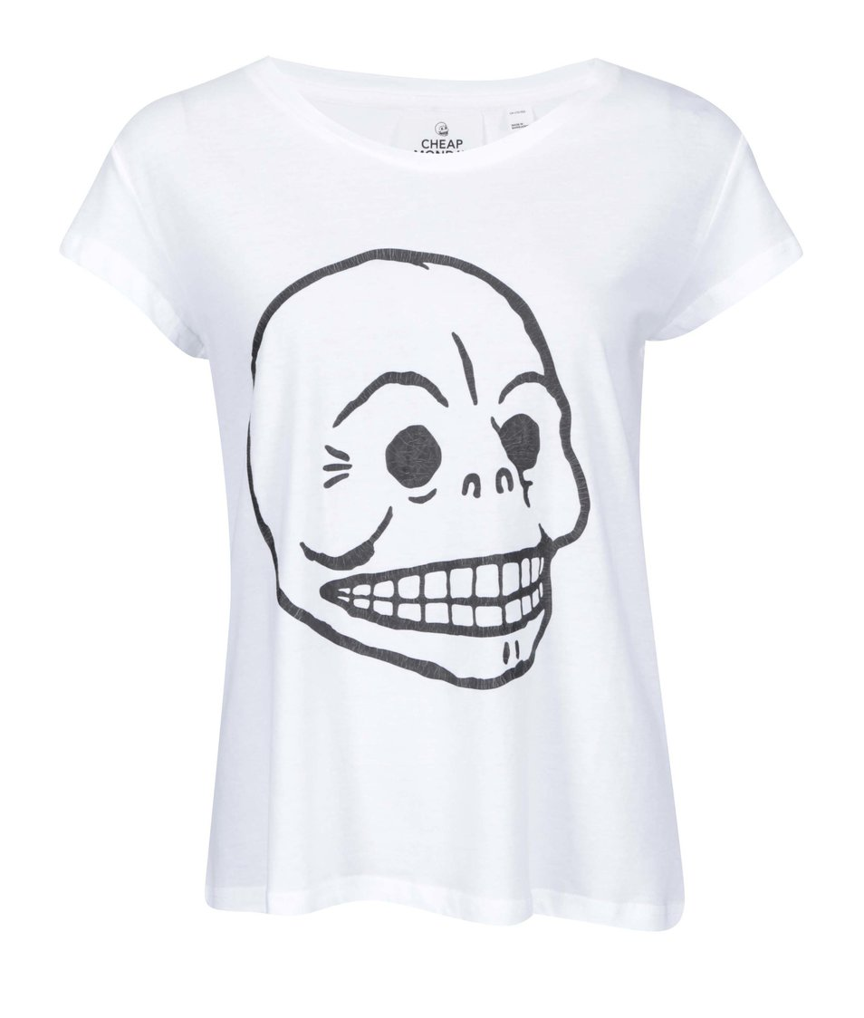 Bílé dámské tričko Cheap Monday Cracked skull