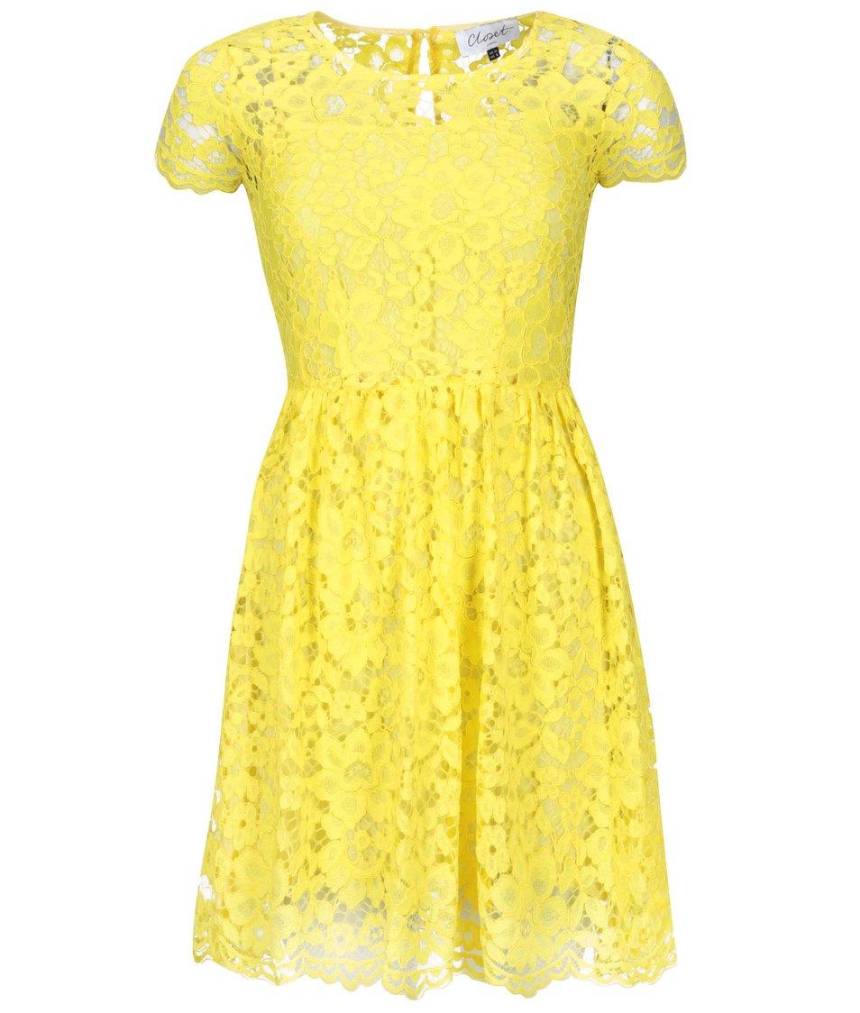 Žluté krajkové šaty Closet