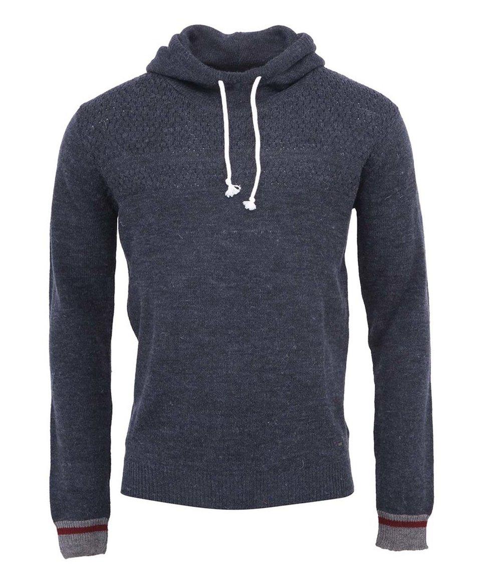 Tmavě modrý svetr s kapucí !Solid