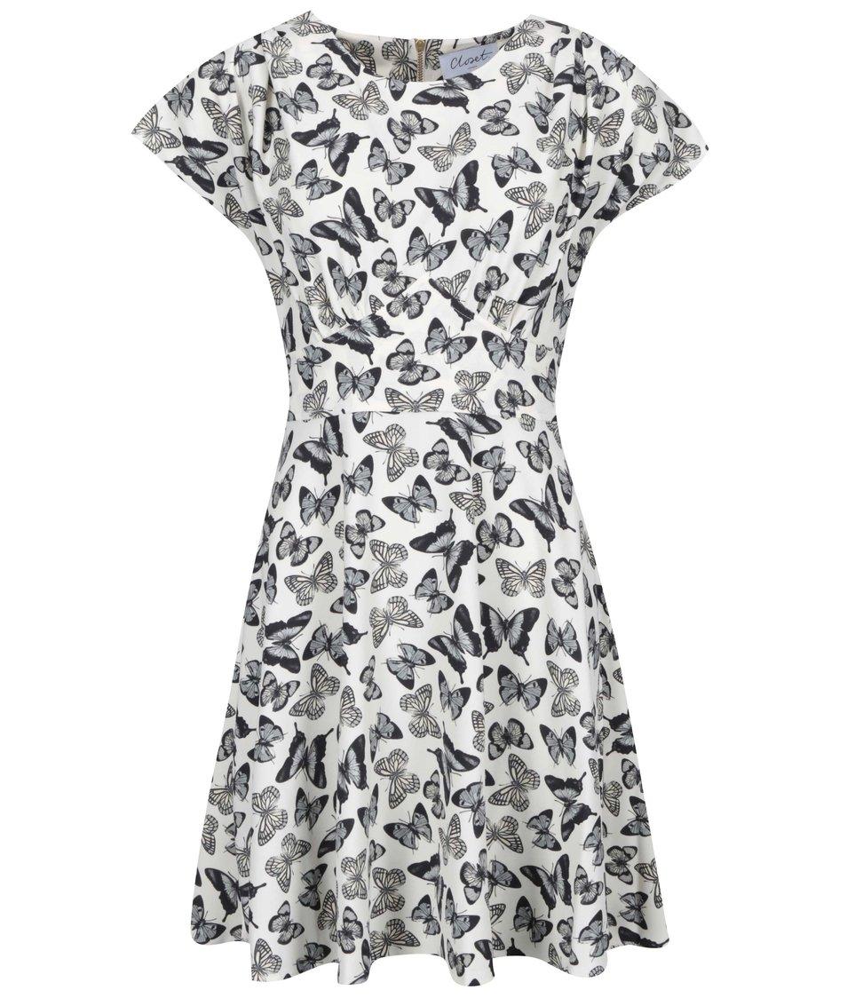 Krémové šaty s motýly Closet