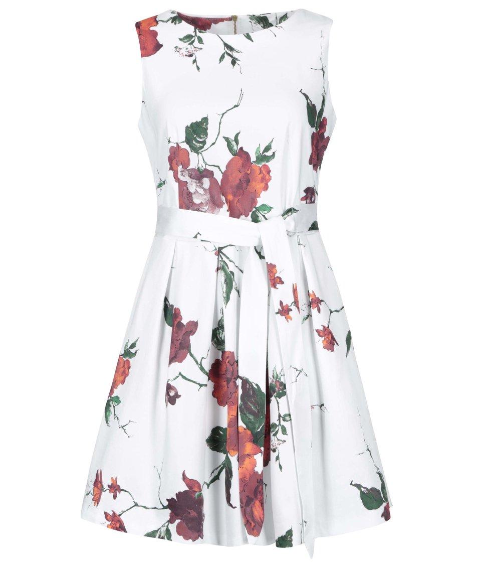Bílé šaty s červenými květy a zavazováním Closet