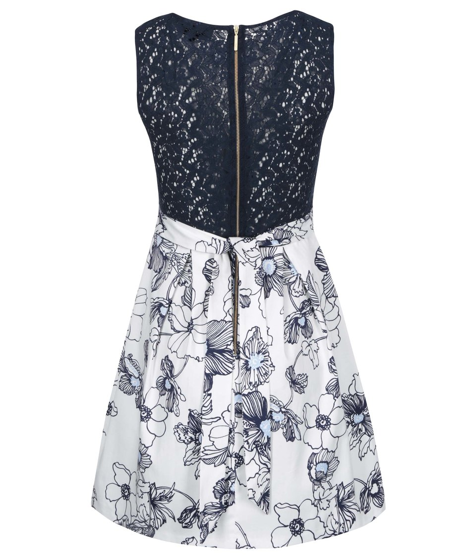 536958db4851 Modro-bílé šaty s krajkovými zády a květy Closet - Vánoční HIT ...