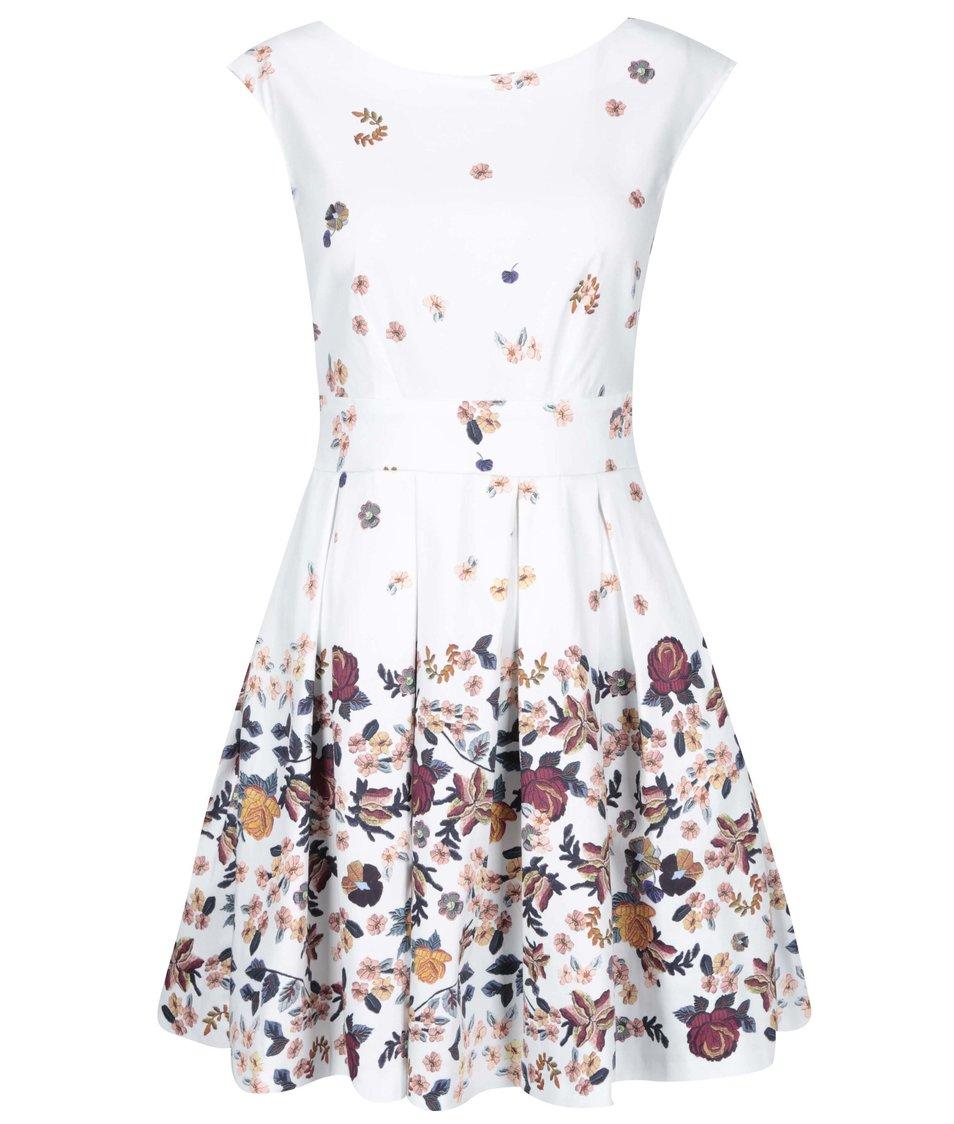 Bílé šaty s barevnými květy Closet