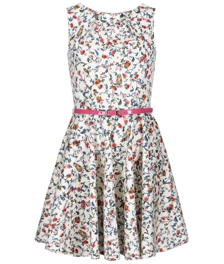 Krémové šaty s kvítky Closet