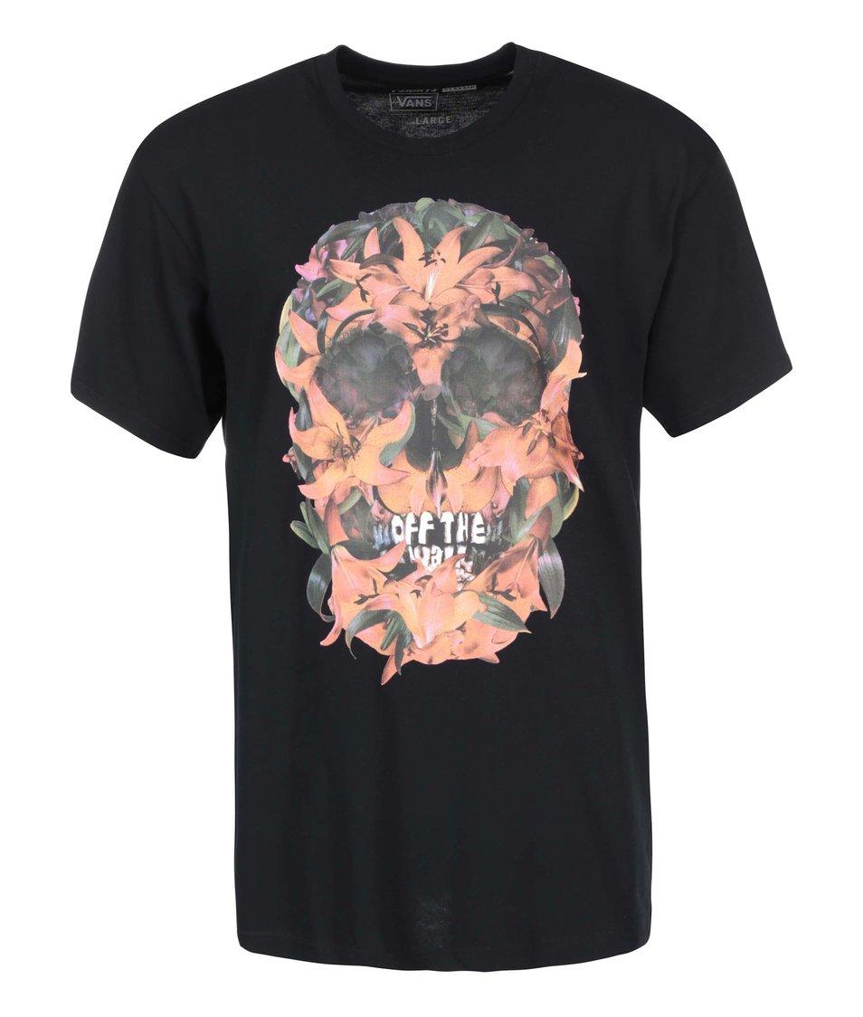 Černé pánské triko s potiskem Vans Gnarbloom
