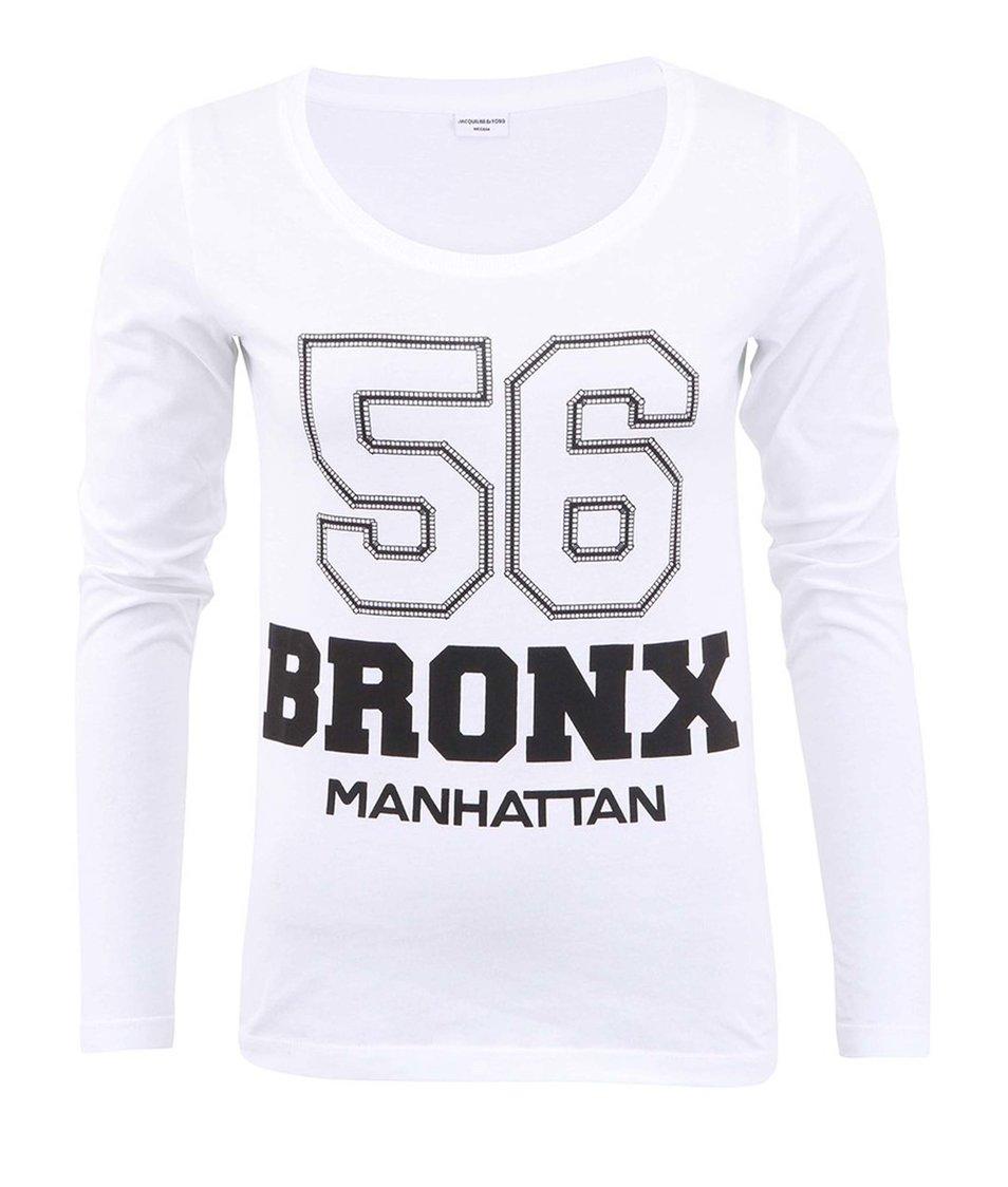 Bílé tričko s dlouhým rukávem Jacqueline de Yong Chicago