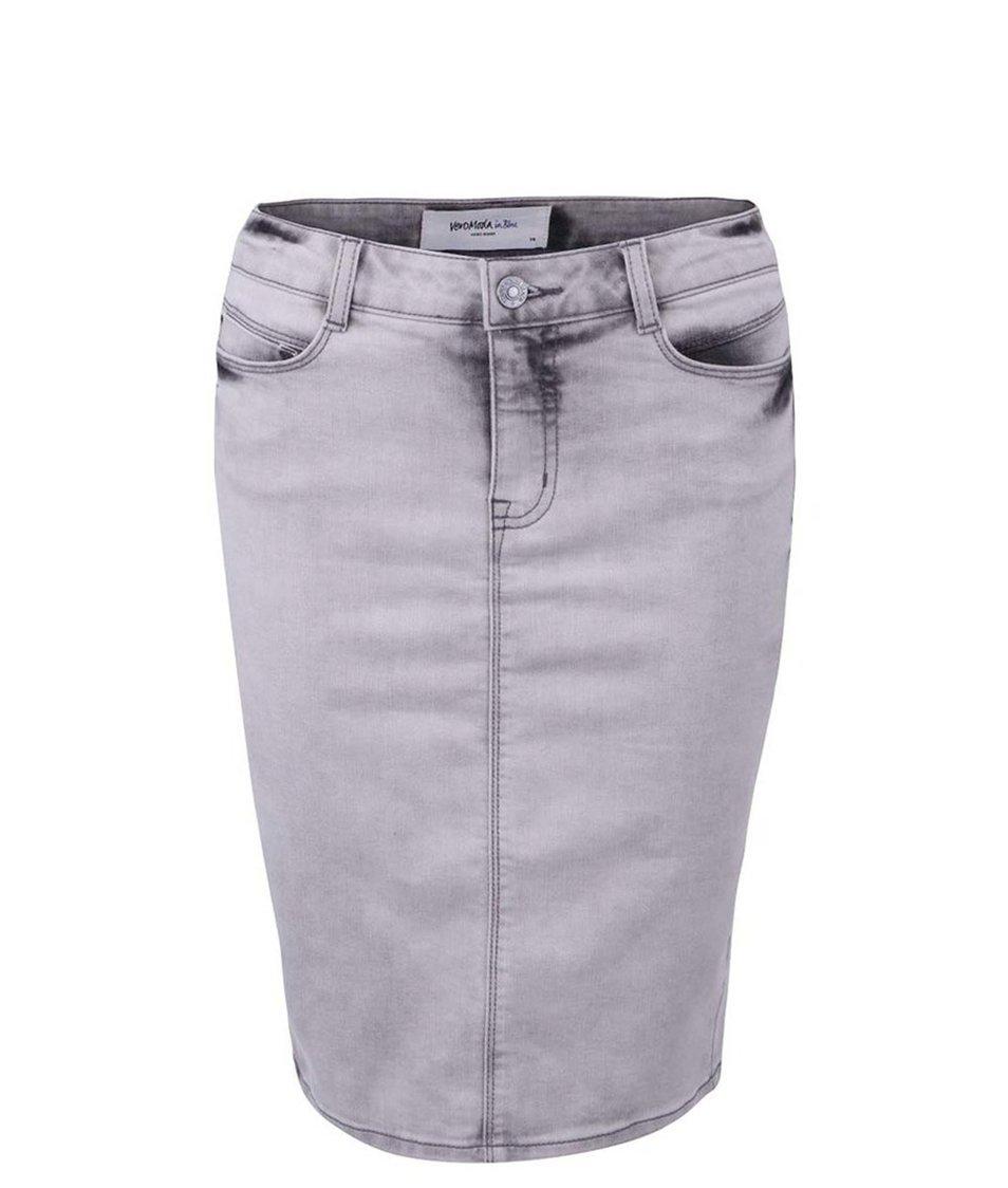 Šedá pouzdrová džínová sukně Vero Moda Wonder