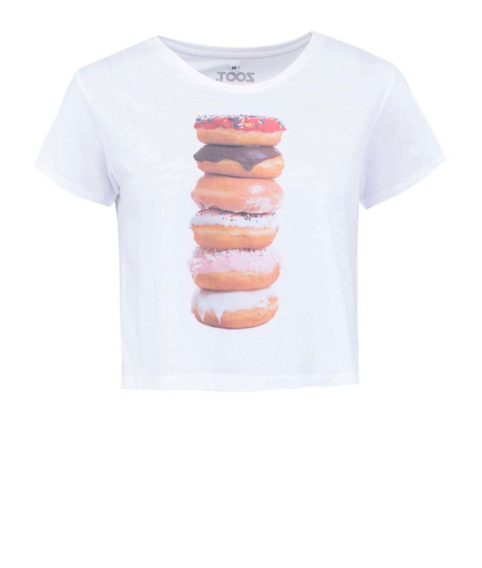 Bílé dámské kratší tričko ZOOT Originál Donuts