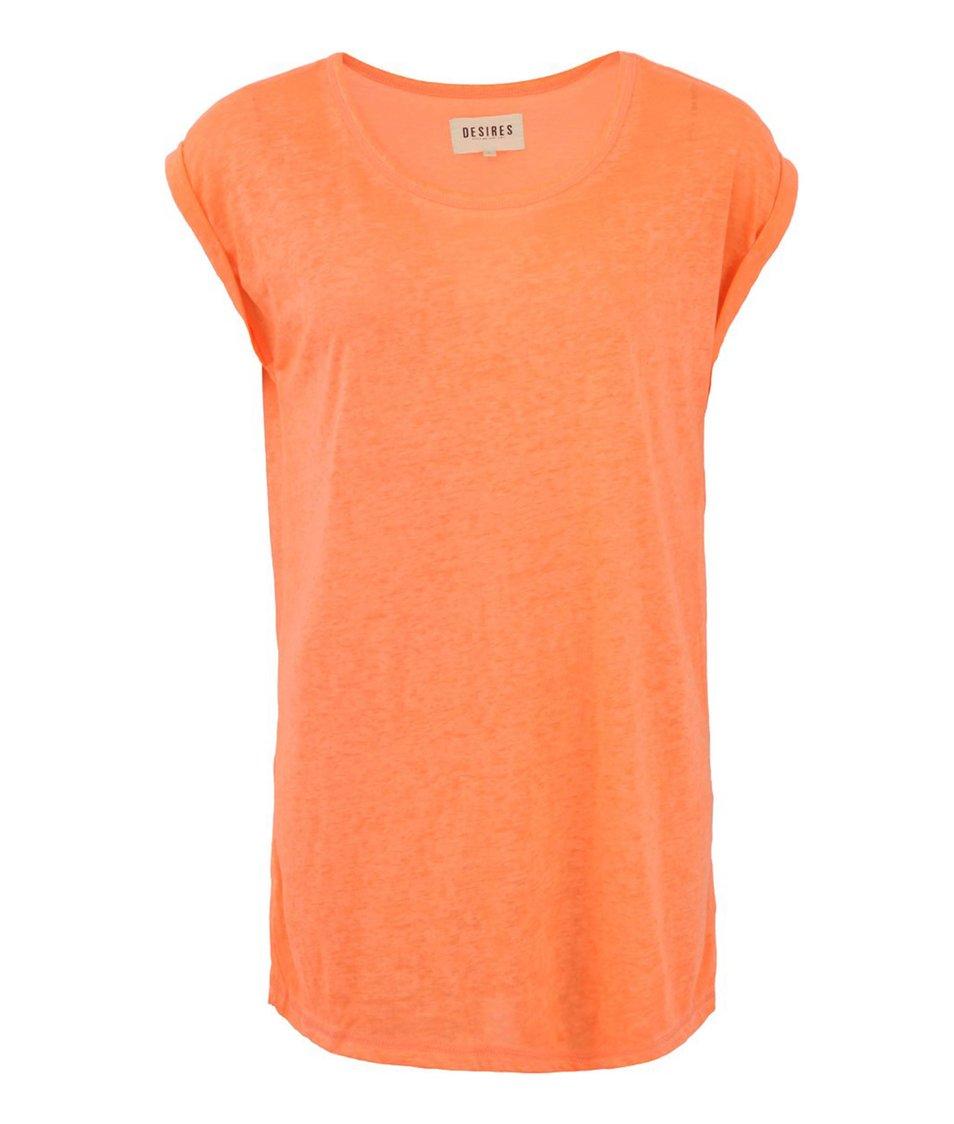 Neonově oranžové žíhané tričko Desires Nada