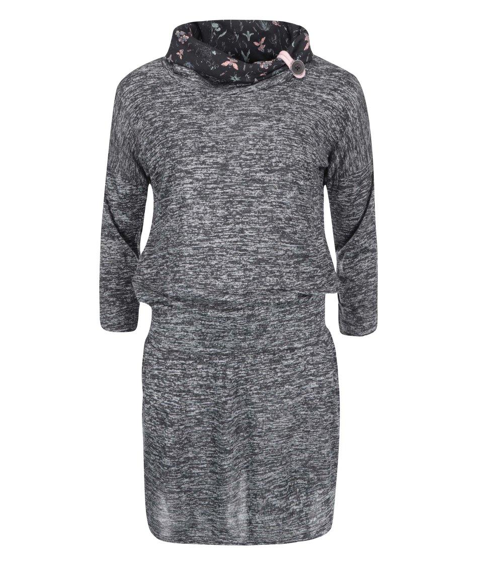 Černé dámské žíhané šaty s květinovým límcem Ragwear Margarita