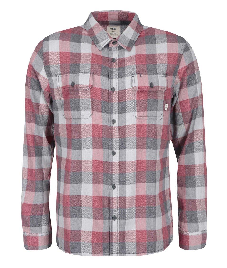 Šedo-červená pánská kostkovaná košile Vans Alameda