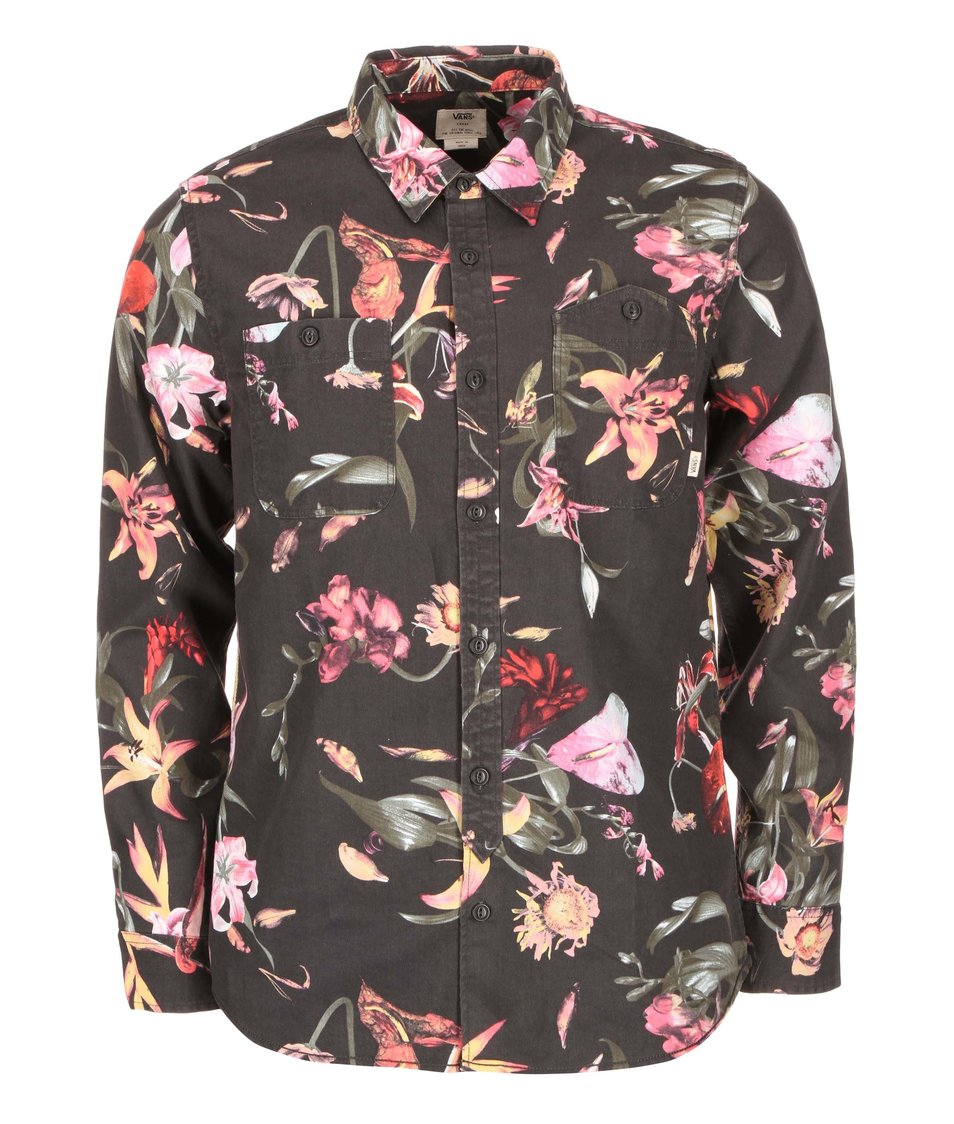 Černá pánská košile s barevnými květy Vans Thorman