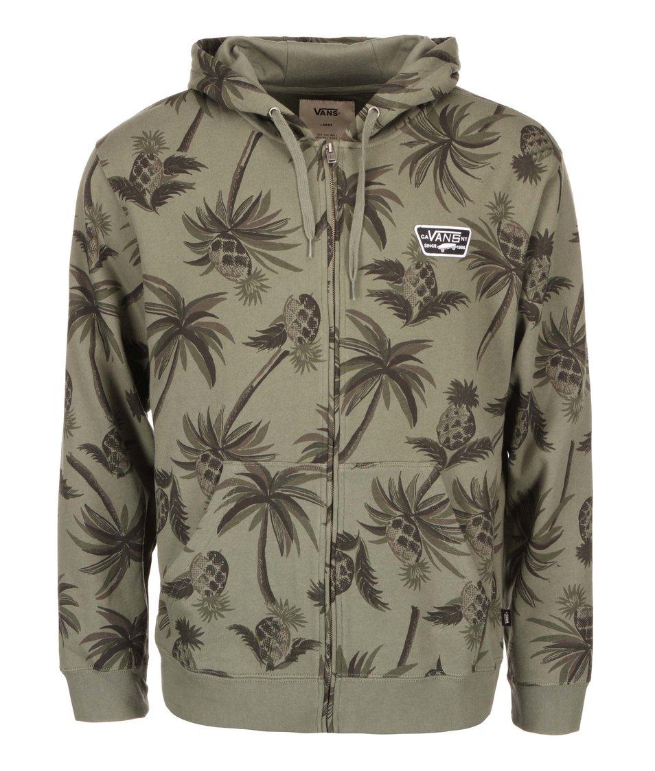 Khaki mikina na zip s kapucí Vans Orinda