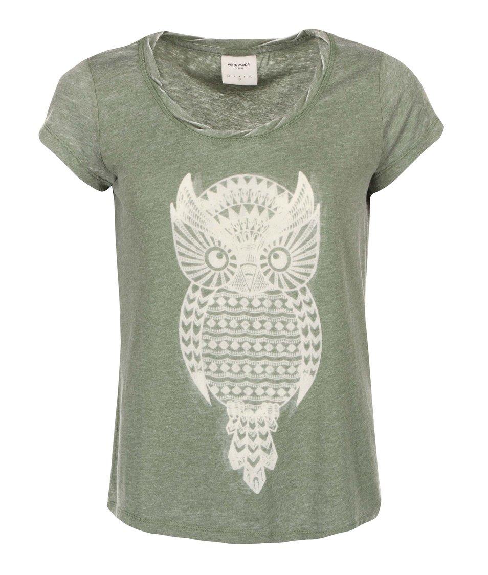 Zelené tričko se sovou Vero Moda Molly