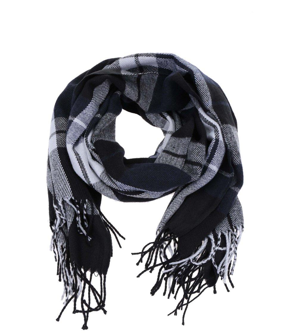 Modro-černá kostkovaná šála Vero Moda Checko