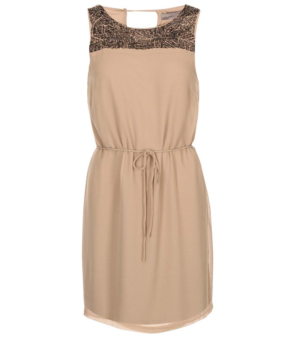 Béžové šaty se zdobeným dekoltem Vero Moda Nabila