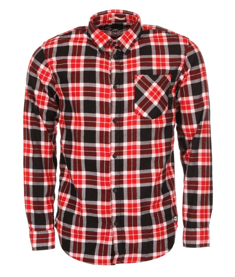 Červeno-černá kostkovaná košile Jack & Jones Grunde