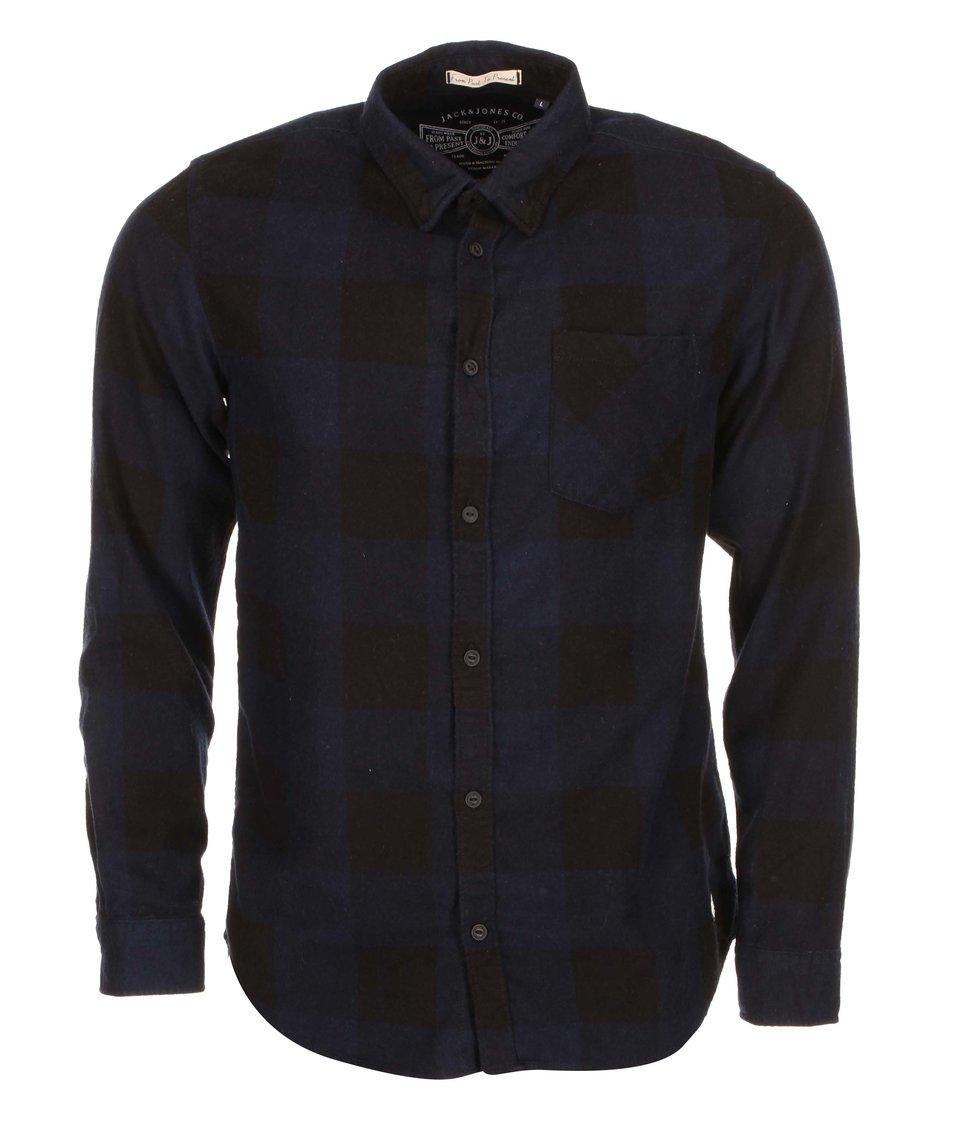 Modro-černá kostkovaná košile Jack & Jones Grunde