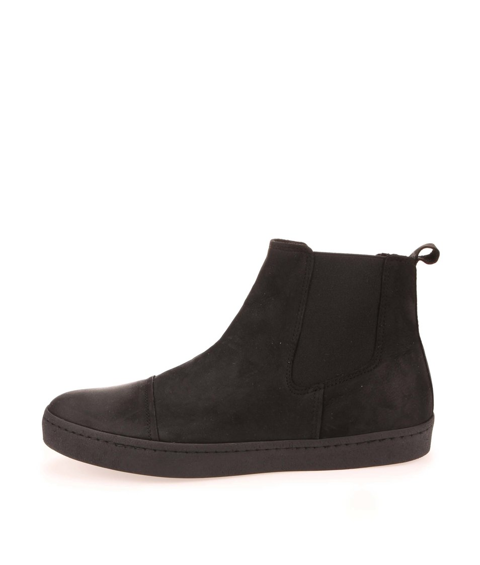 Černé kožené kotníkové boty Jack & Jones Eddie