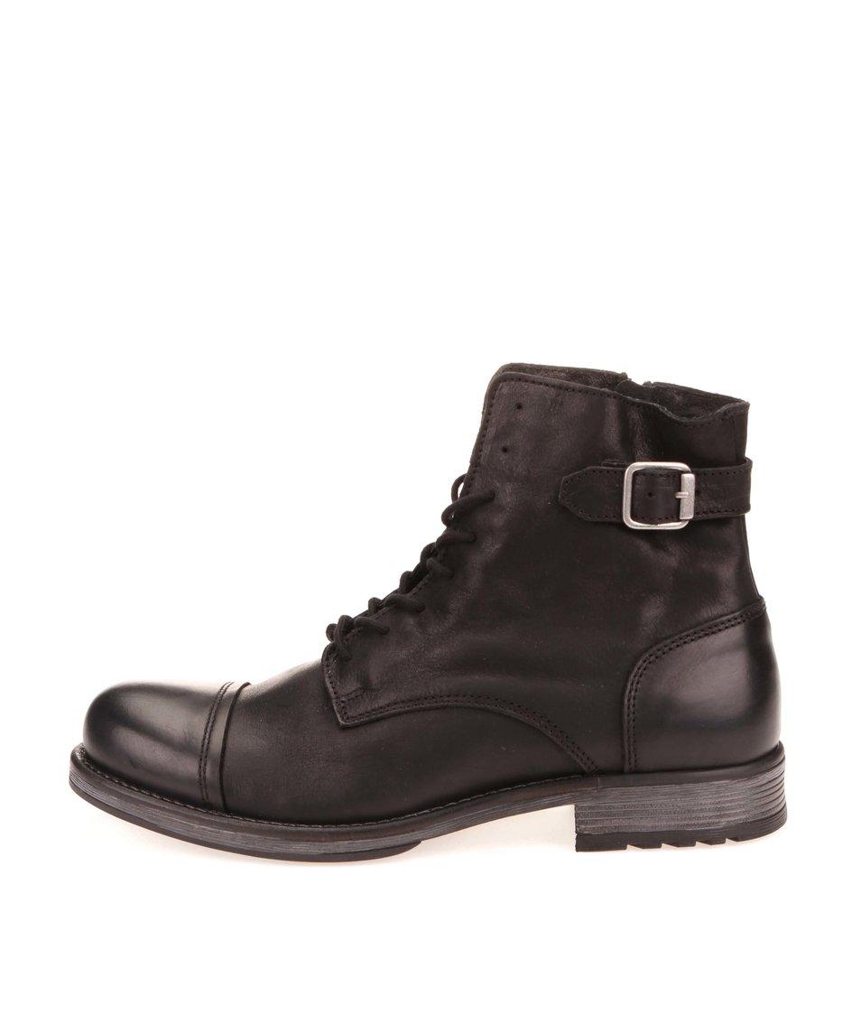 Černé kožené kotníkové boty s přezkou Jack & Jones Siti