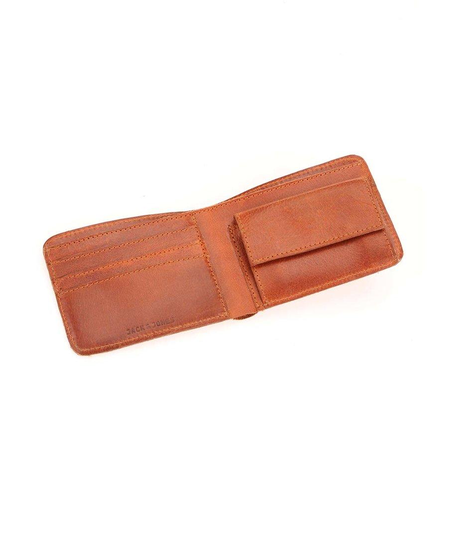 Hnědá kožená peněženka Jack & Jones