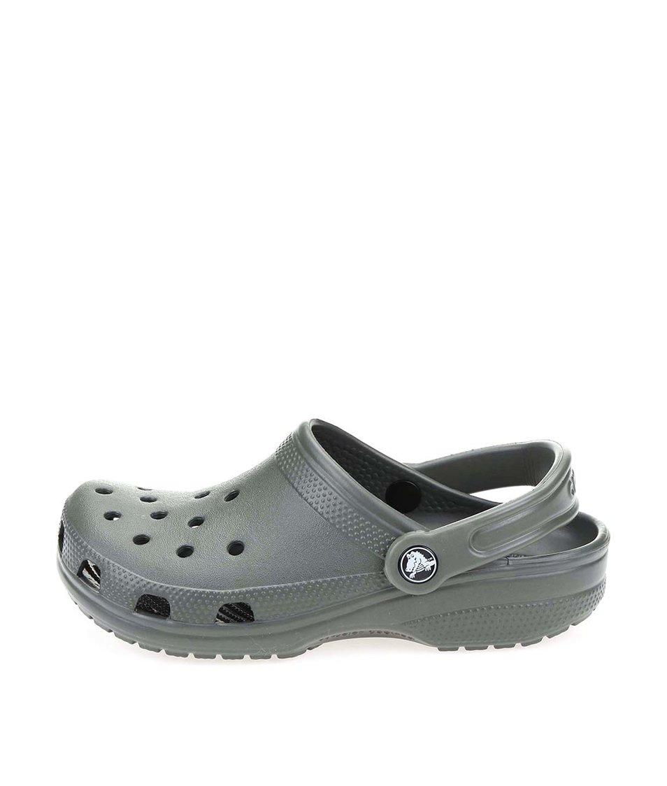 Khaki dámské nazouváky Crocs Classic