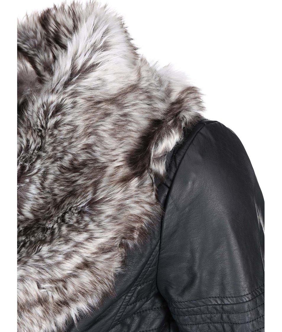 Černá koženková bunda ONLY Lawly