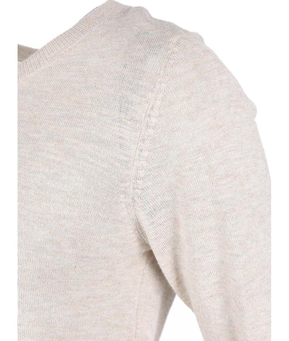 Běžový žíhaný svetr s průstřihem na zádech ONLY Mellow