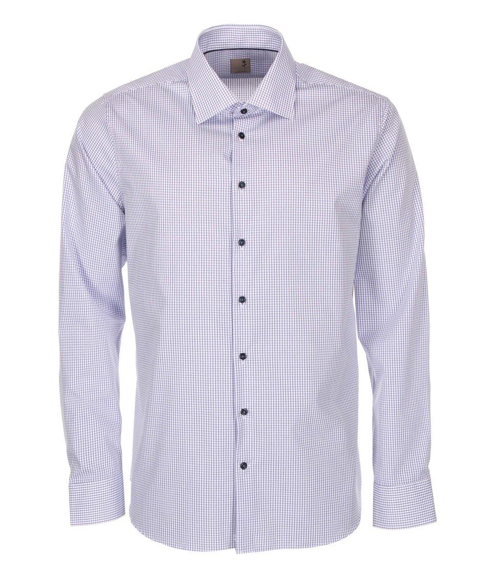 Modro-bílá kostkovaná košile Seidensticker Kent City Slim Fit