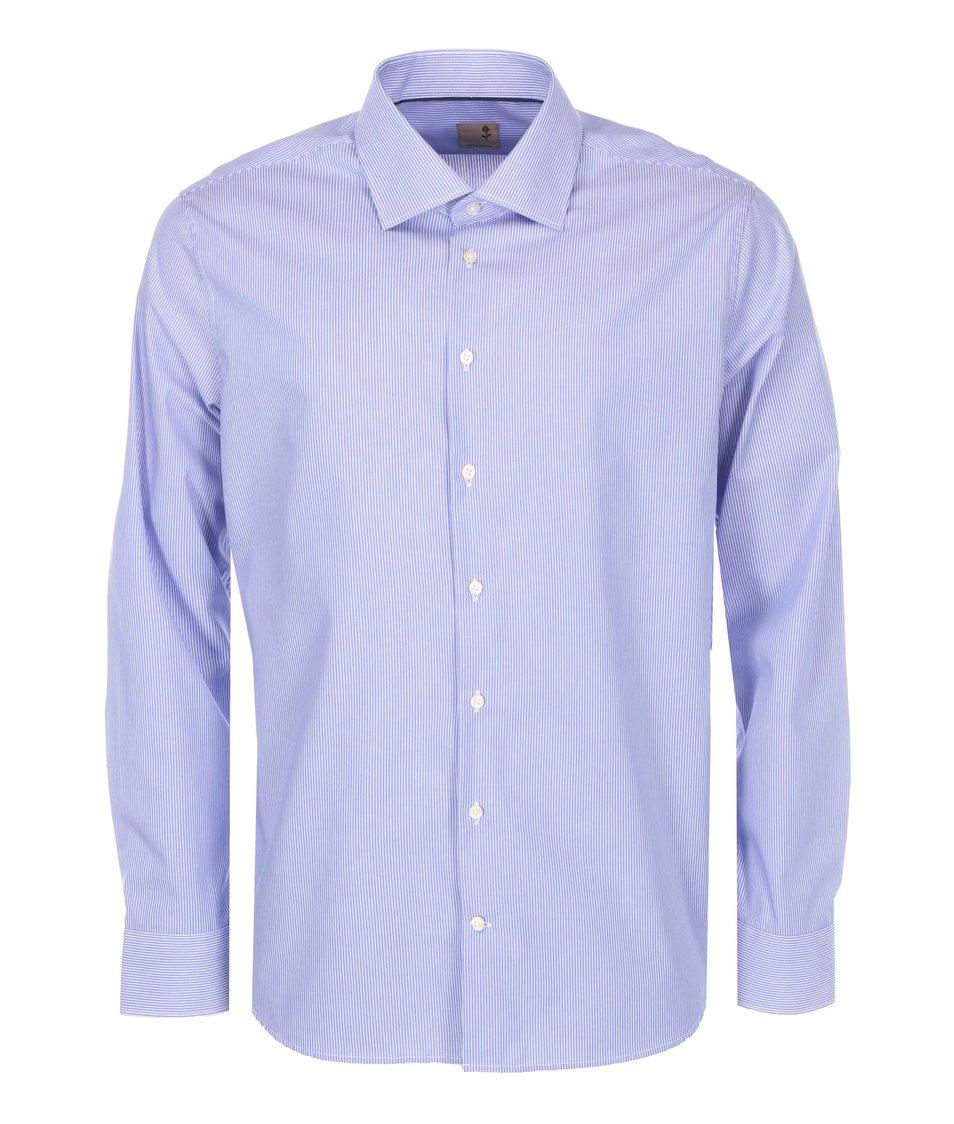 Bílo-modrá pruhovaná košile Seidensticker Kent City Slim Fit